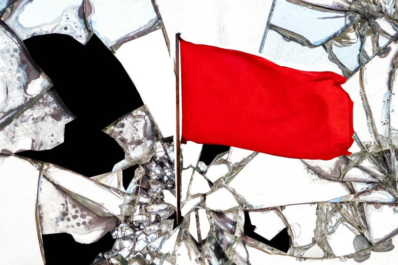 Photo illustration: Red revolutionary flag shattering a mirror.