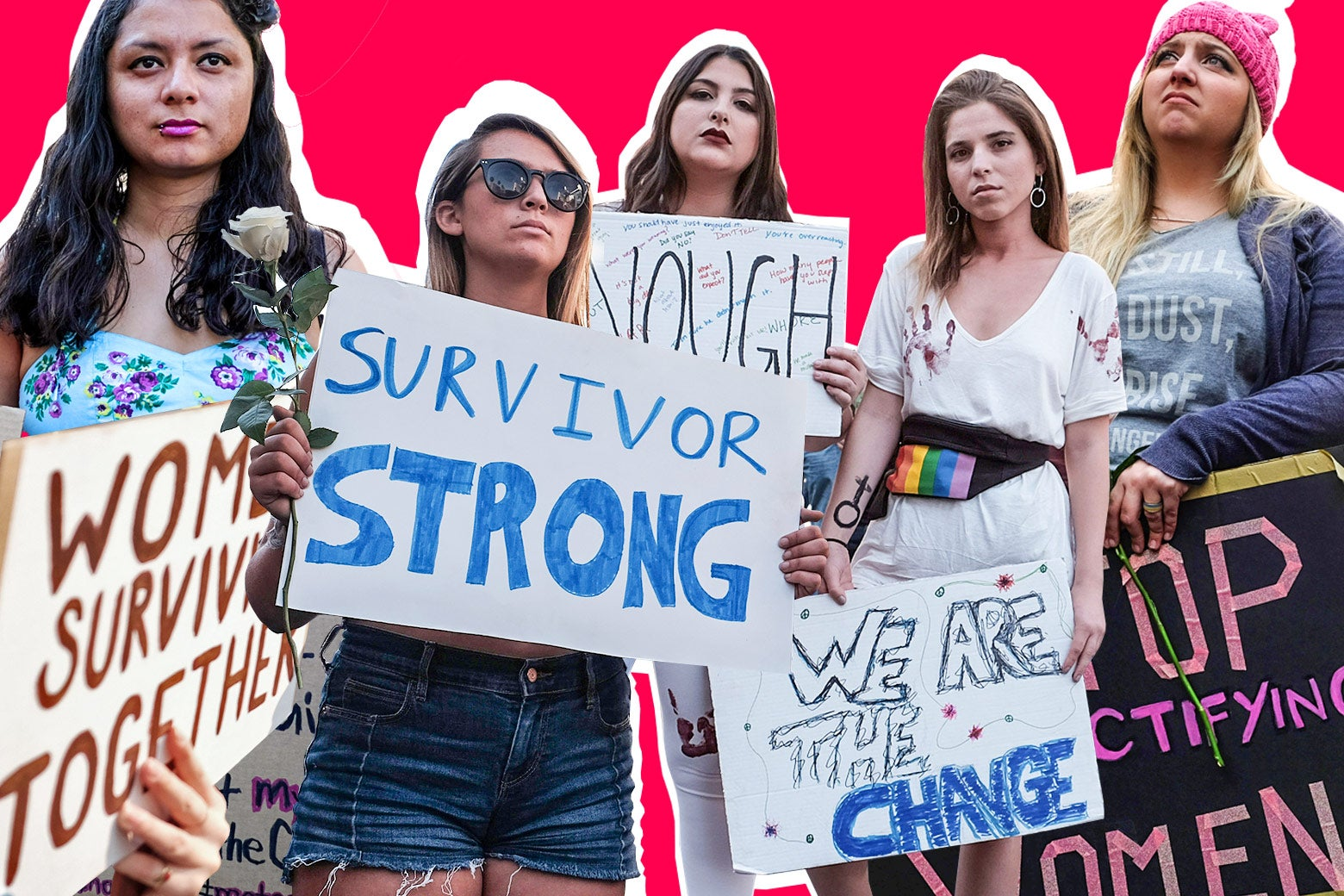 """Women hold up signs that say things like, """"Survivor strong"""" and """"We are the change."""""""
