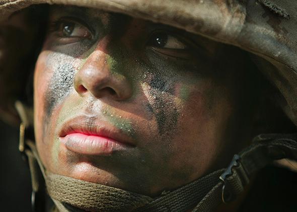 United States Marine Corps recruit Maria Martinez, 19, of Santa Anna, California