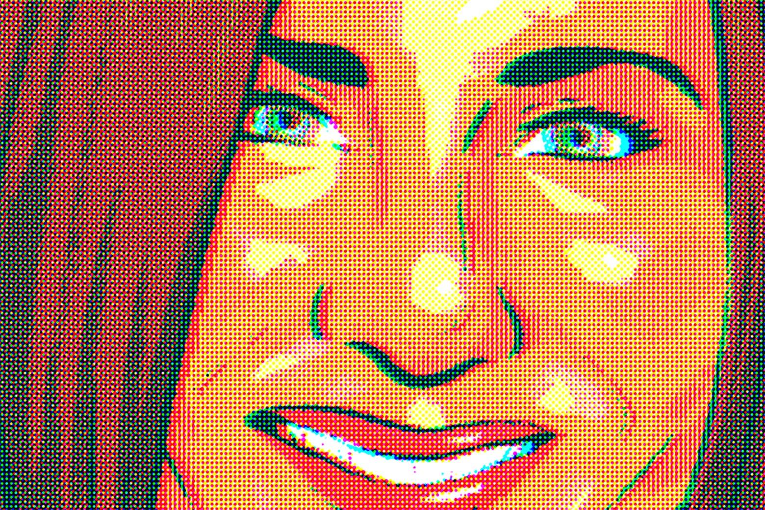 A pointillistic image of Jennifer Aniston.