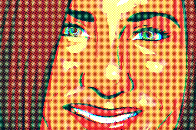 A pointillistic image of Jennifer Aniston.