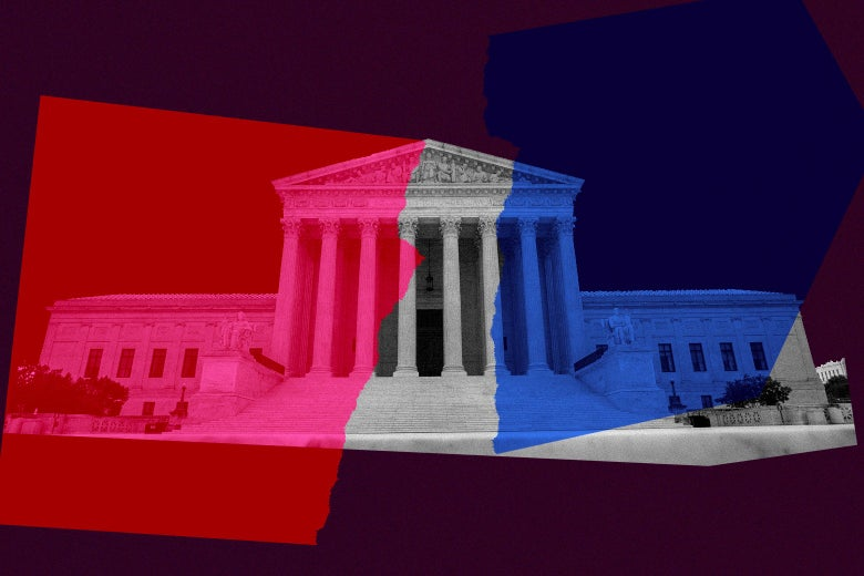 Supreme Court building with red and blue shapes superimposed on it to suggest partisanship