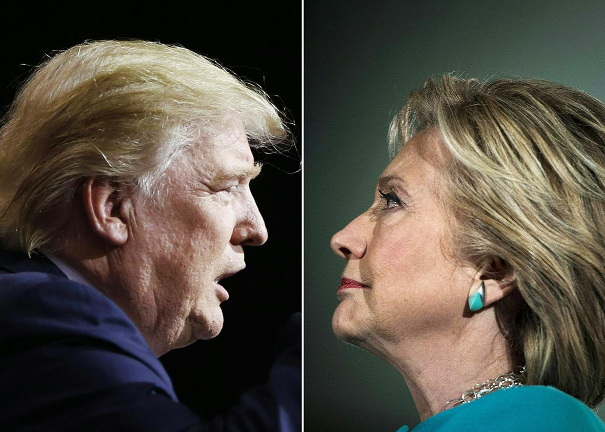 Republican presidential candidate Donald Trump in Cleveland, Ohio on October 22, 2016 and US Democratic presidential nominee Hillary Clinton in Manchester, New Hampshire, on November 6, 2016.