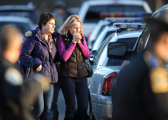 The aftermath of the school shooting at Sandy Hook elementary school in Newtown, Connecticut.
