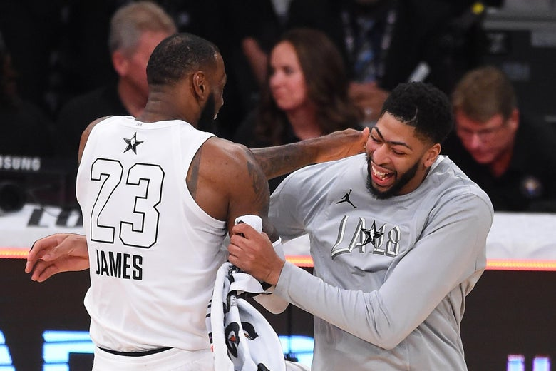 LeBron James and Anthony Davis celebrate after winning the NBA All-Star Game 2018.