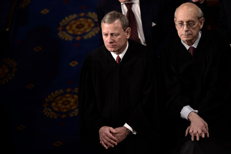 US Supreme Court Justices John Roberts and Stephen Breyer listen as President Donald Trump delivers the State of the Union address.