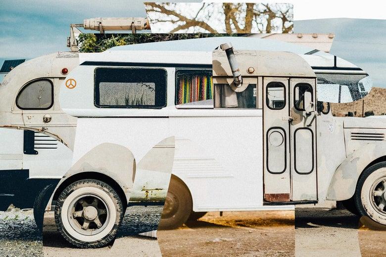 Photo collage of a fantasy school bus.