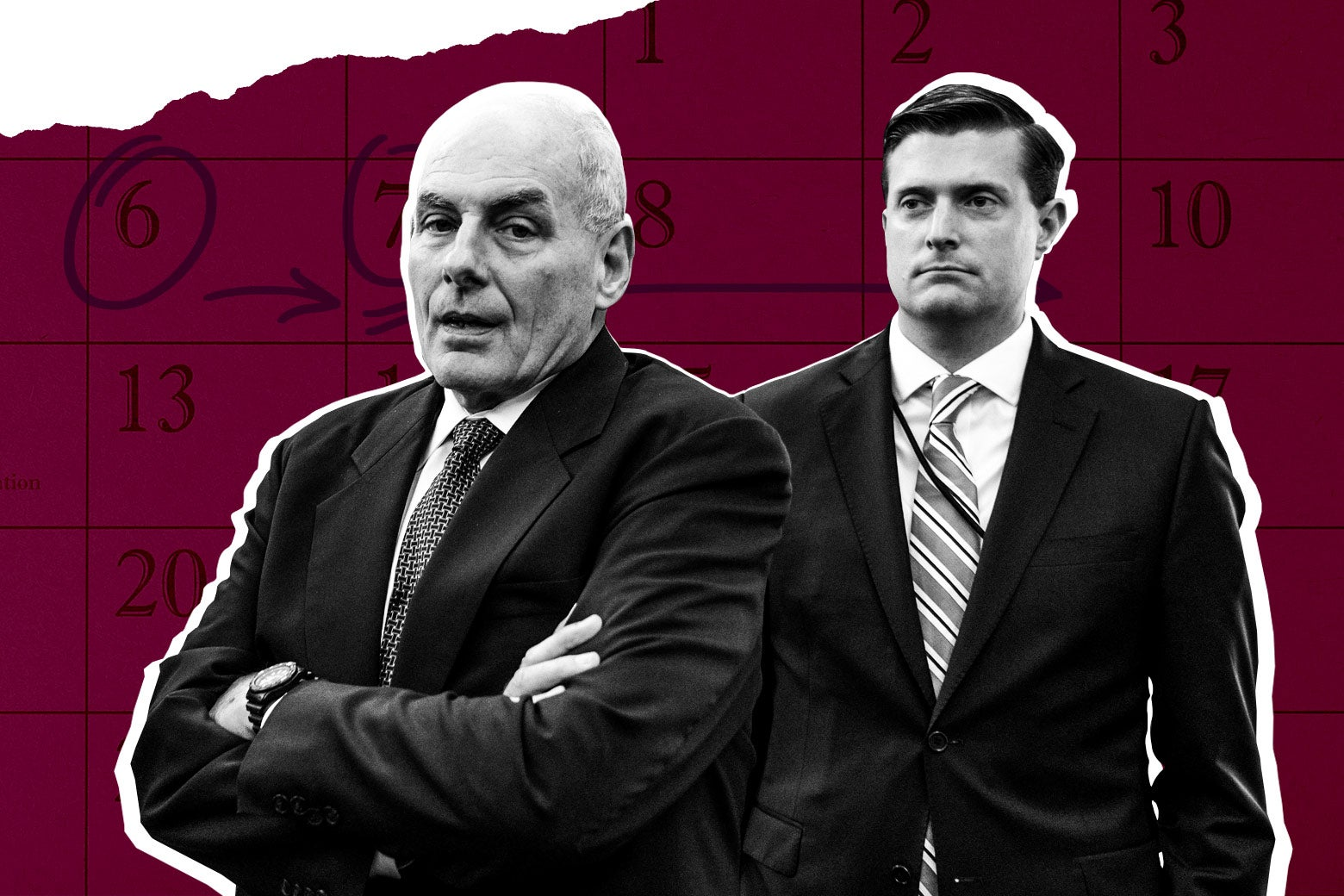 Photo illustration: White House chief of staff John Kelly and White House staff secretary Rob Porter. Photo illustration by Slate. Photos by Thinkstock and Nicholas Kamm/AFP/Getty Images.