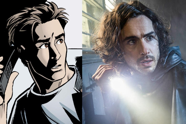 Side-by-side images of Yorick in the comic and Ben Schnetzer as Yorick in the TV show