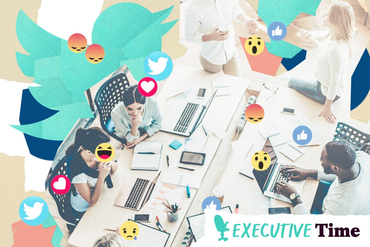 A collage of office workers surrounded by social media icons.