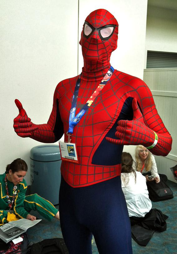 A Comic Con enthusiast dresses up as Spider Man, at the San Diego convention on July 13, 2012.