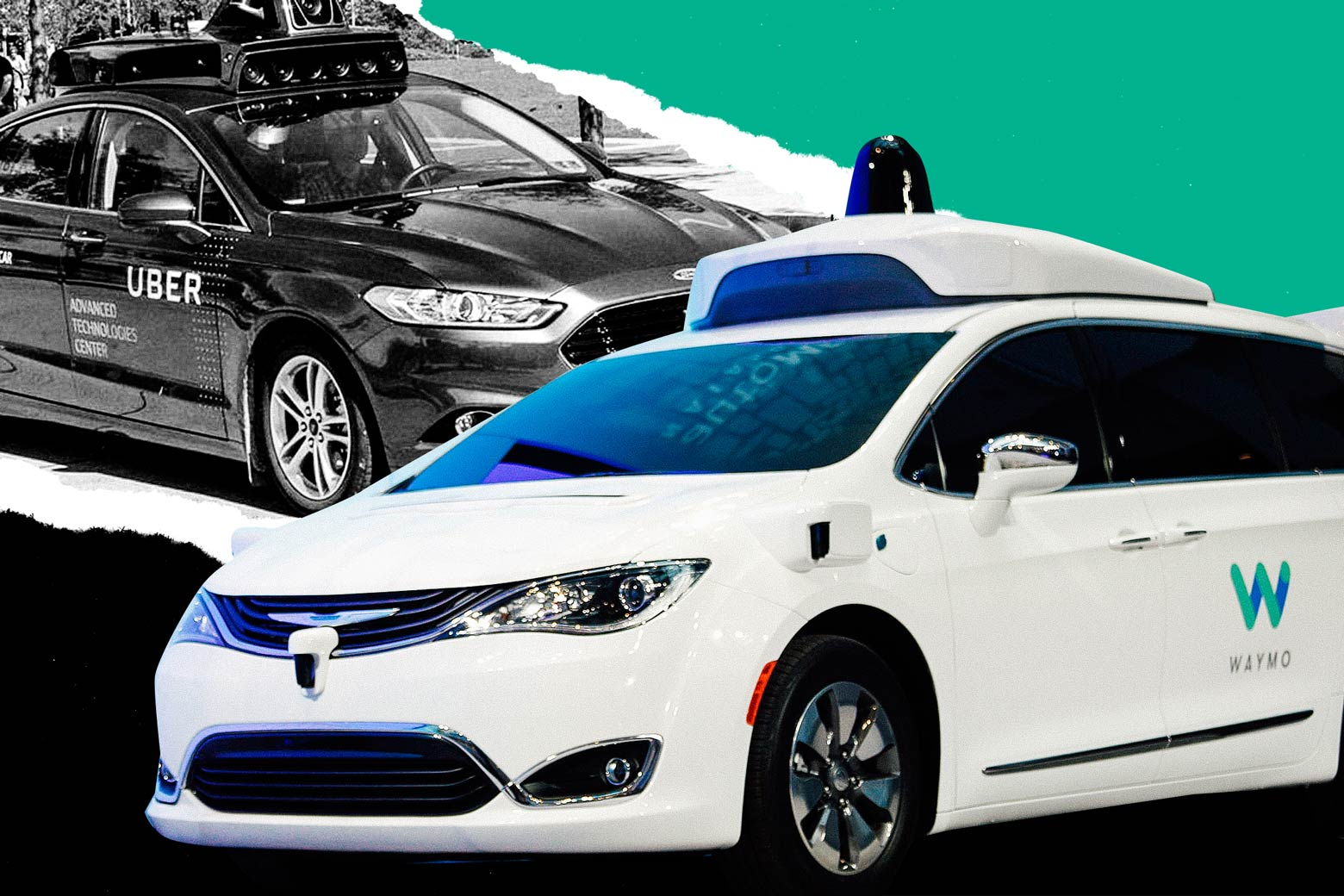 Photo illustration: test vehicles from Uber and Waymo are juxtaposed against a green background. Photo illustration by Slate. Photos by Uber, Getty Images.