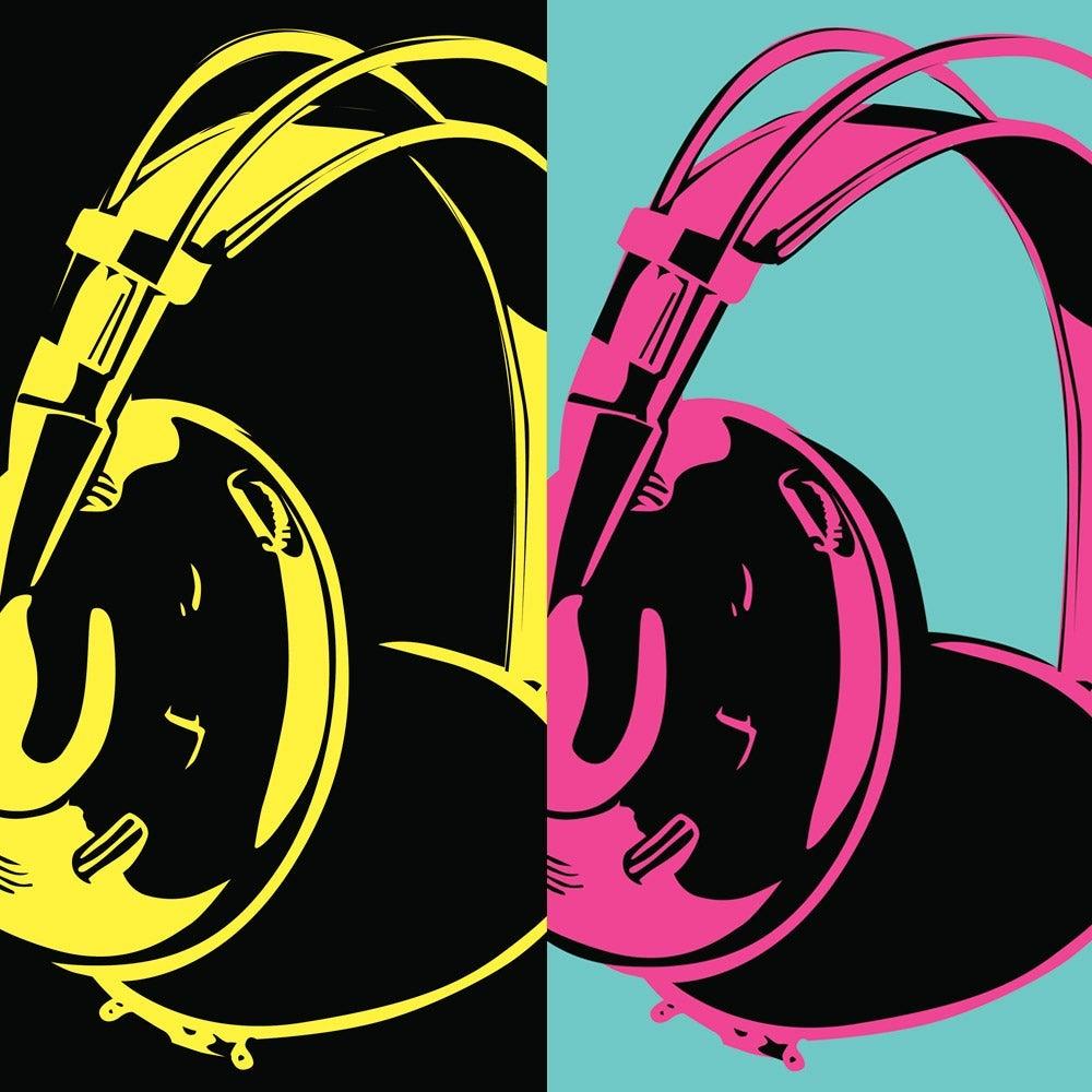 Headphones in pop art style