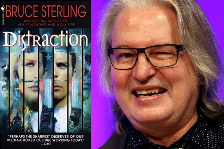 Distraction book cover and science-fiction author Bruce Sterling, as seen in Berlin in 2016.