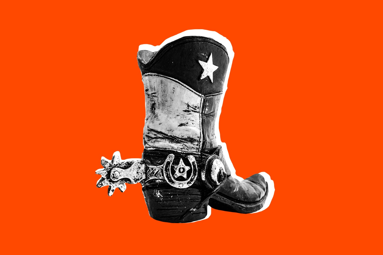 A Texas cowboy boot on a red background.