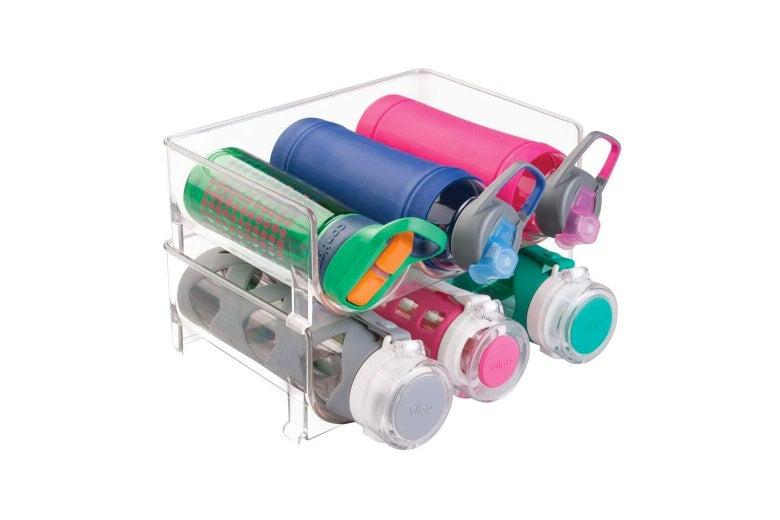 Clear plastic water bottle rack