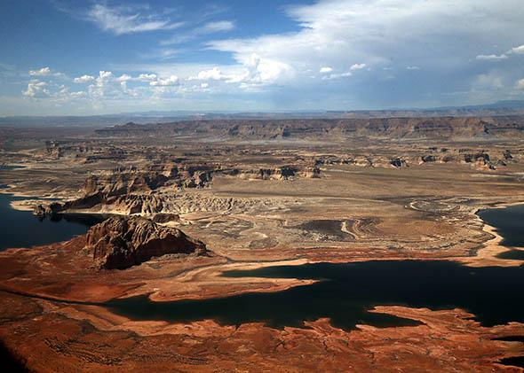 Lake Powell is shown from an airplane window on March 30, 2015 in Page, Arizona.