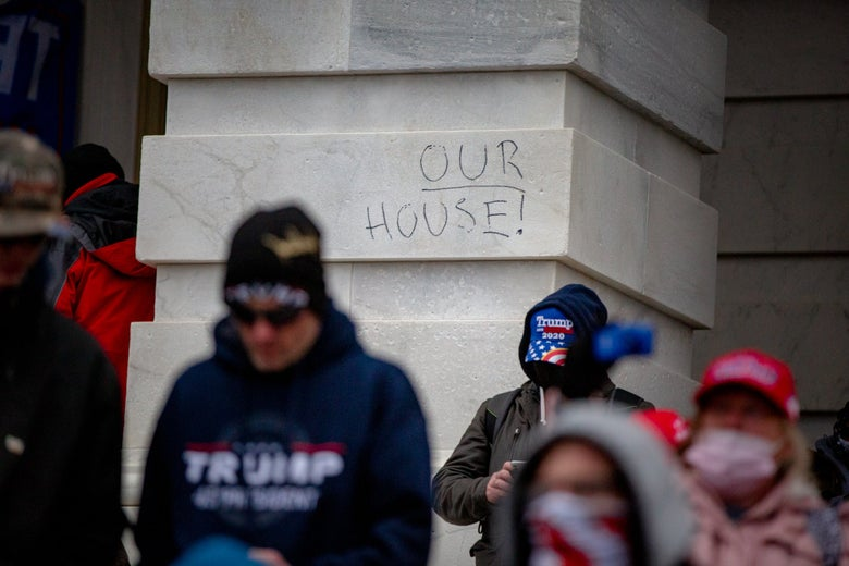 """Graffiti outside the Capitol reads """"OUR HOUSE!"""""""