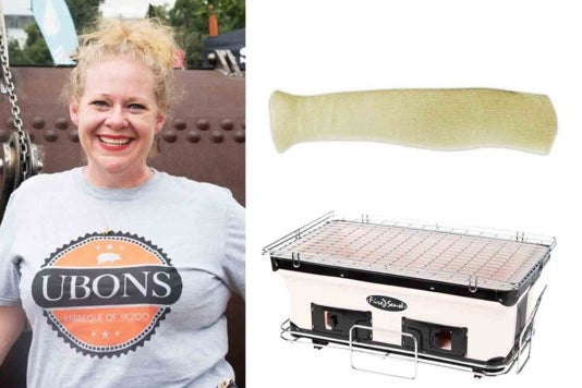 Leslie Roark Scott and the grill and sleeve.