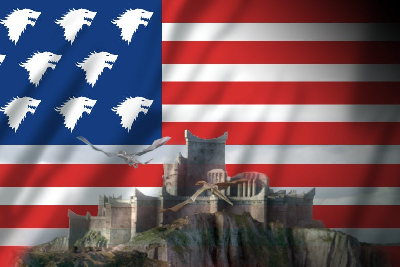 An American flag with the Stark sigil instead of stars behind King's Landing with dragons flying over it.