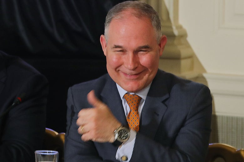 Scott Pruitt gives a thumbs-up sign at the White House on Feb. 12.