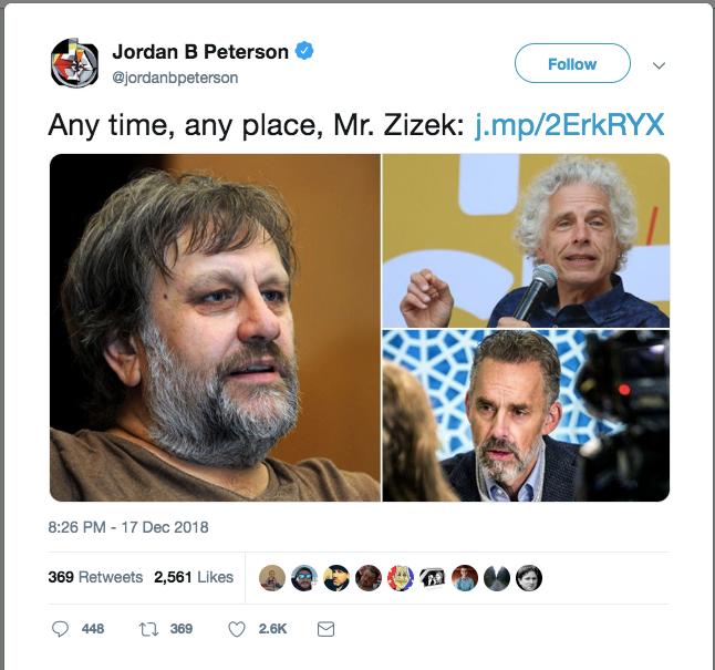 "Jordan Peterson's tweet: ""Any time, any place, Mr. Zizek."""