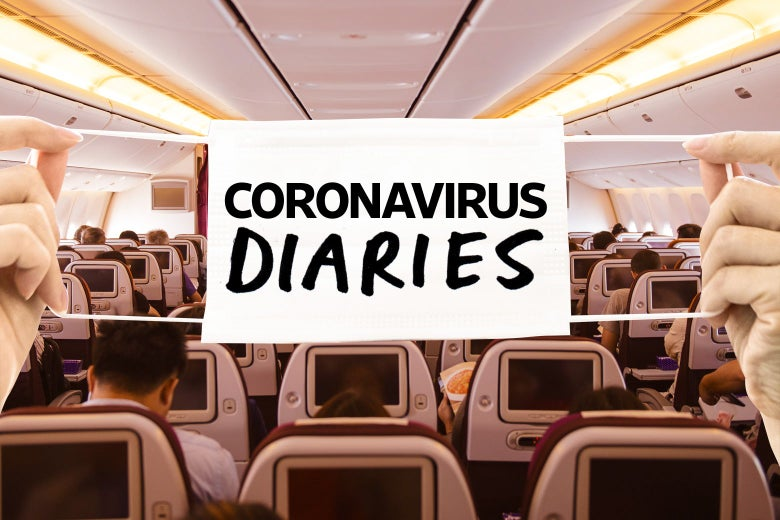 """Two hands holding a mask that says """"Coronavirus Diaries"""" over a photo of the inside of a large commercial jet"""