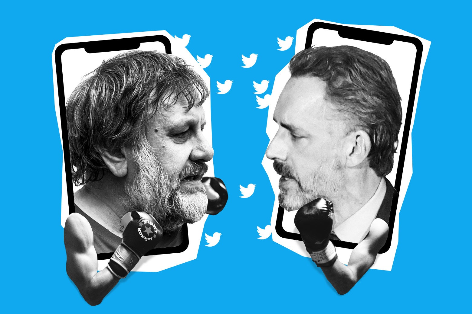 Slavoj Žižek and Jordan Peterson head-to-head, wearing boxing gloves. Their faces are emerging from smartphone screens, with Twitter birds flitting between them.