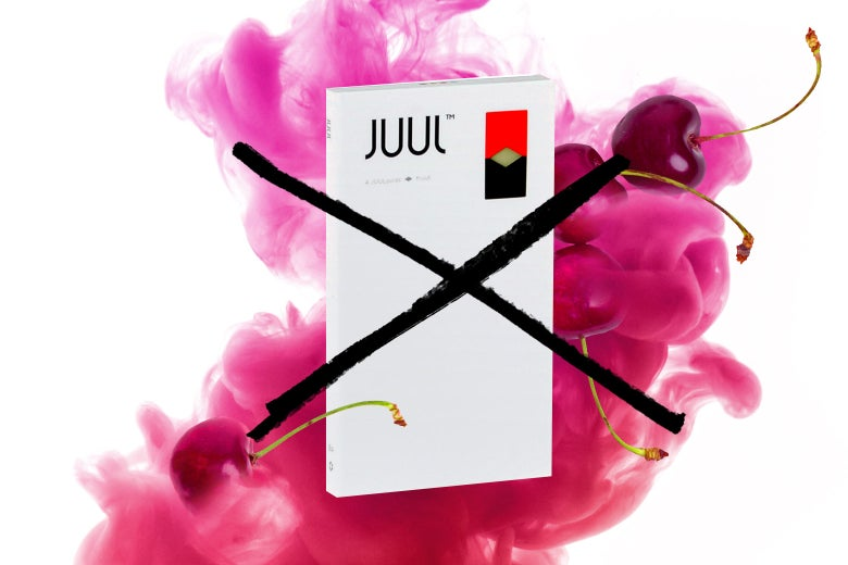 A Juul logo with an X through it.