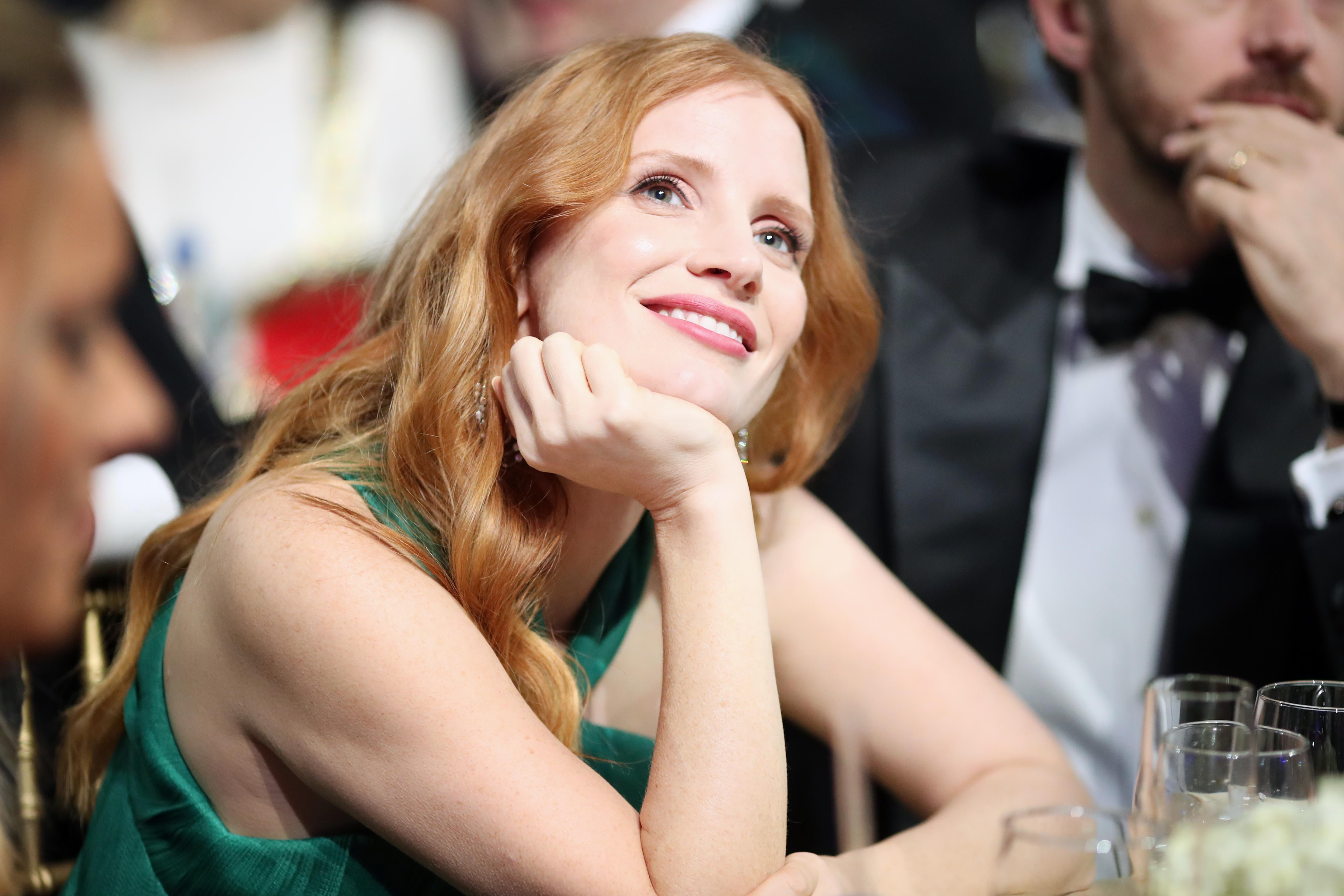 Photo of Jessica Chastain looking serene at the Critics' Choice Awards on Jan. 11 in Santa Monica, California.