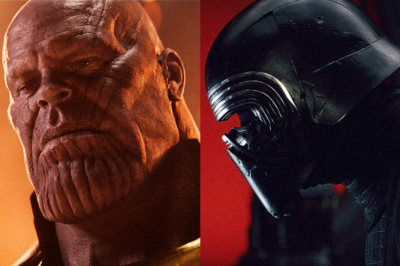 Josh Brolin as Thanos in Avengers: Infinity War and Adam Driver as Kylo Ren in Star Wars: The Last Jedi.
