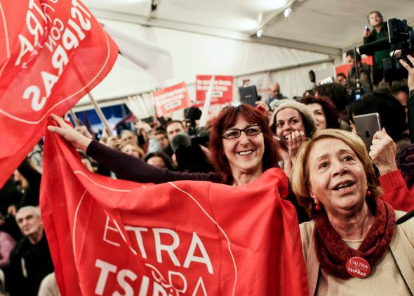 Supporters of the opposition radical leftist Syriza party