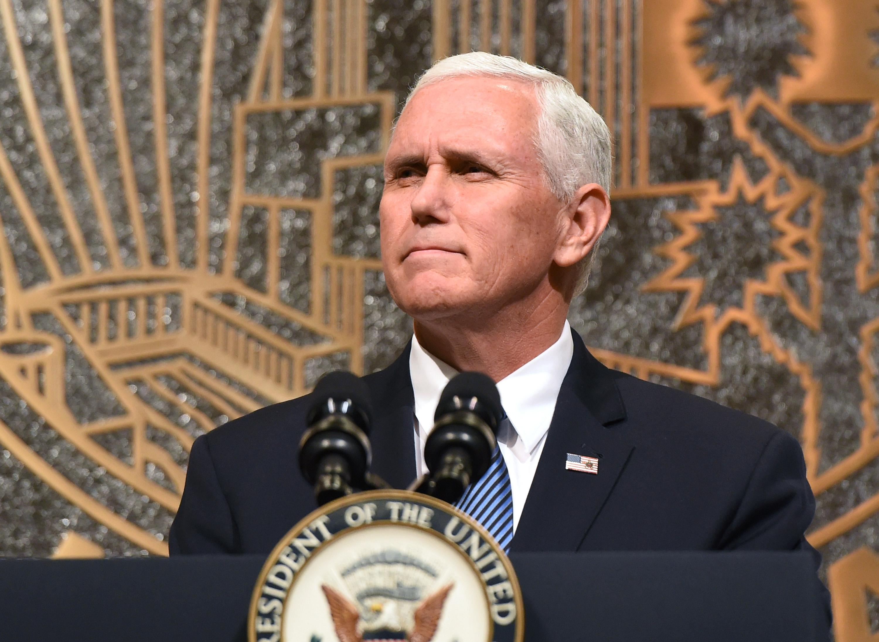 LAS VEGAS, NV - OCTOBER 07:  U.S. Vice President Mike Pence speaks at the culmination of a faith unity walk, held to help the community heal after Sunday's mass shooting, at Las Vegas City Hall on October 7, 2017 in Las Vegas, Nevada. On October 1, Stephen Paddock killed at least 58 people and injured more than 450 after he opened fire on a large crowd at the Route 91 Harvest country music festival. The massacre is one of the deadliest mass shooting events in U.S. history.  (Photo by Ethan Miller/Getty Images)
