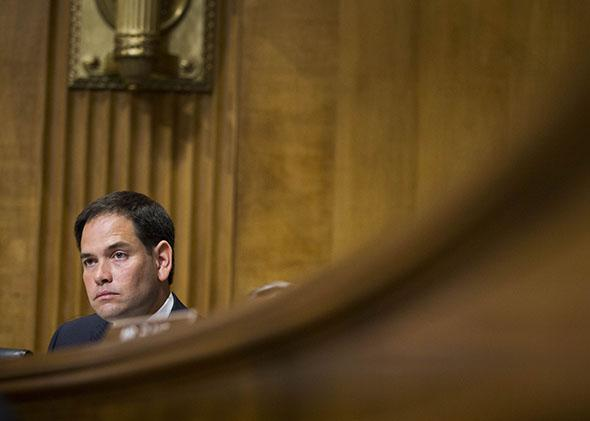 U.S. Sen. Marco Rubio (R-FL) listens to testimony from U.S. Secretary of State John Kerry during a Senate Foreign Relations Committee hearing concerning the 2015 international affairs budget on Capitol Hill April 8, 2014 in Washington, DC.