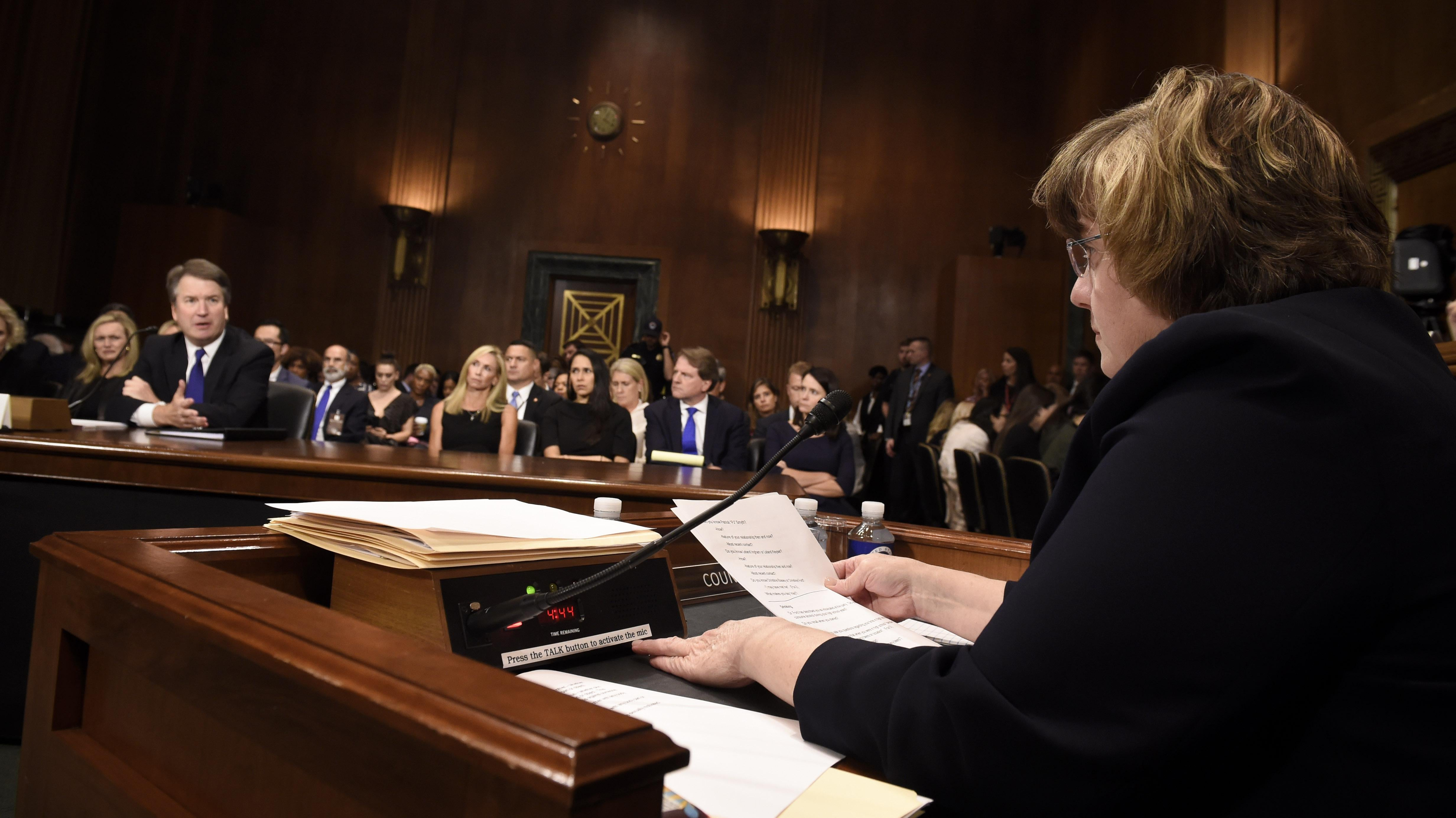 Mitchell questioning Kavanaugh before the Senate Judiciary Committee.