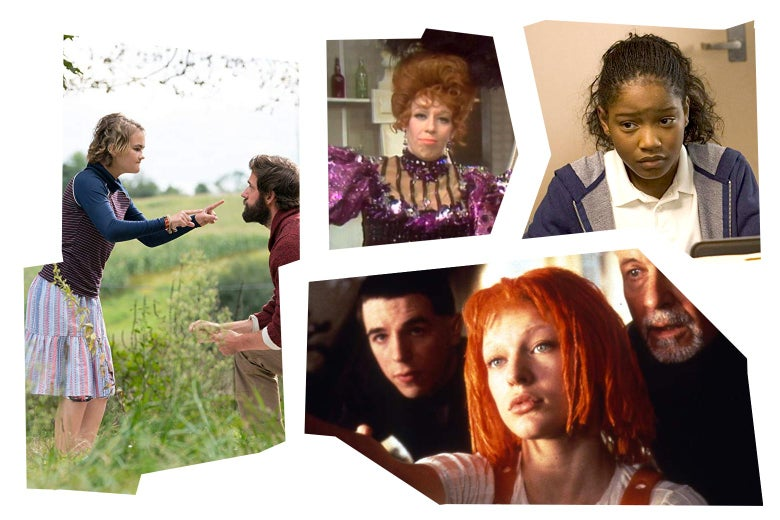 Stills from A Quiet Place, The Carol Burnett Show, Akeelah and the Bee, and The Fifth Element.