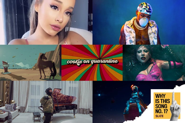 Stills from the official YouTube uploads for all seven songs show Ariana Grande, a stallion, Drake, DaBaby, Lady Gaga, and the Fortnite version of Travis Scott. In corner, the Why Is This Song No. 1 logo.