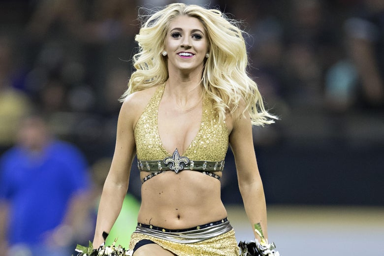 NEW ORLEANS, LA - AUGUST 31:  Saintsations of the New Orleans Saints perform during a preseason game against the Baltimore Ravens at Mercedes-Benz Superdome on August 31, 2017 in New Orleans, Louisiana. The Ravens defeated the Saints 14-13.  (Photo by Wesley Hitt/Getty Images) *** Local Caption ***