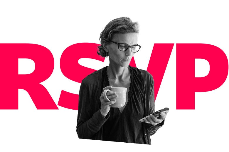 """Woman looking at a cellphone and holding a mug with the letters """"RSVP"""" behind her"""