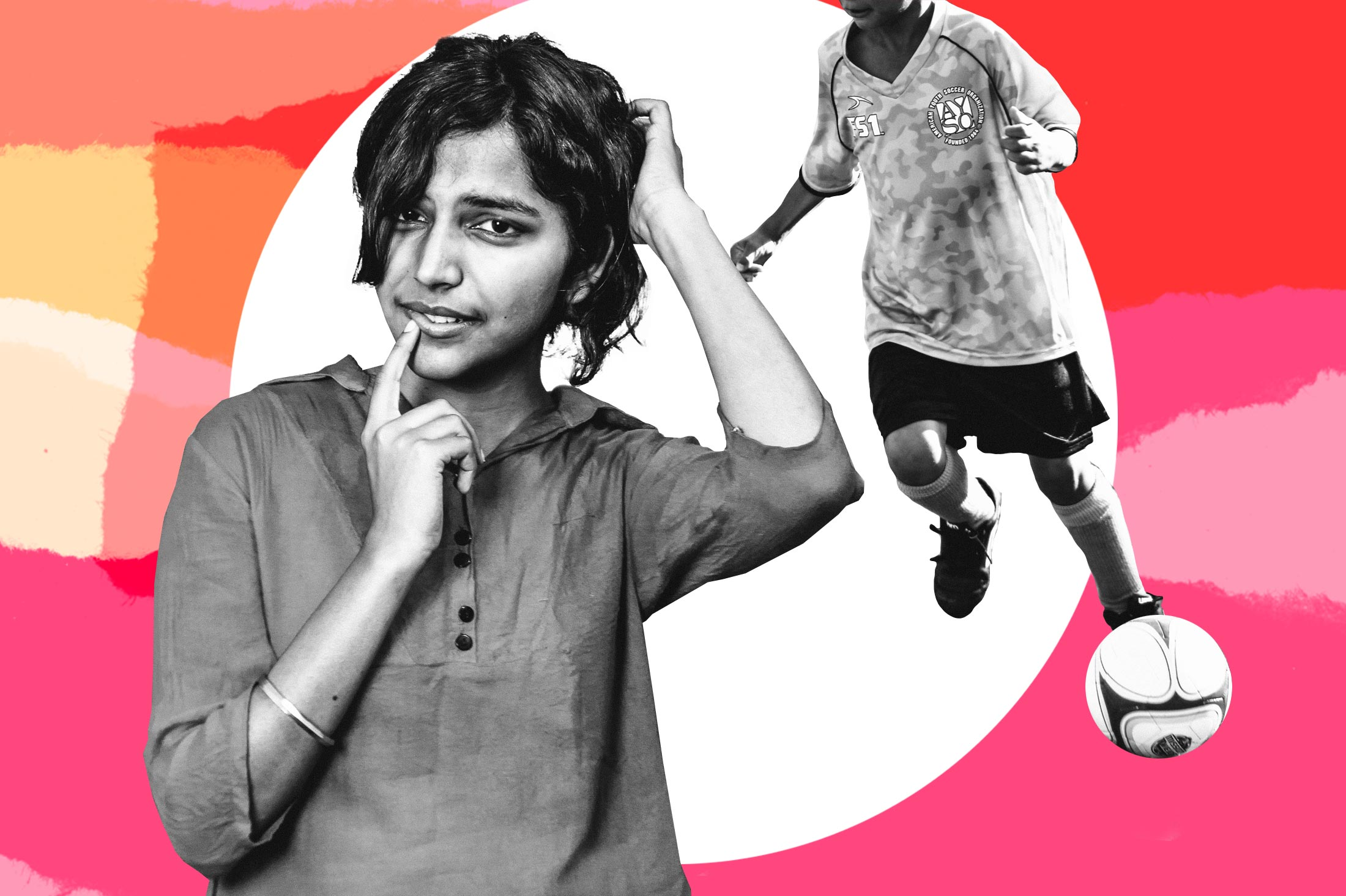 Photo collage of a woman scratching her head while her son plays soccer behind her.
