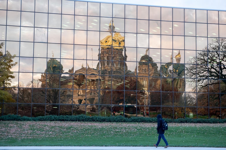 The State Capital of Iowa is reflected by the Henry A Wallace Building on November 6, 2018 in Des Moines, Iowa.
