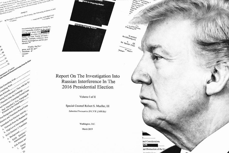 Donald Trump's face in front of documents from the Mueller report.