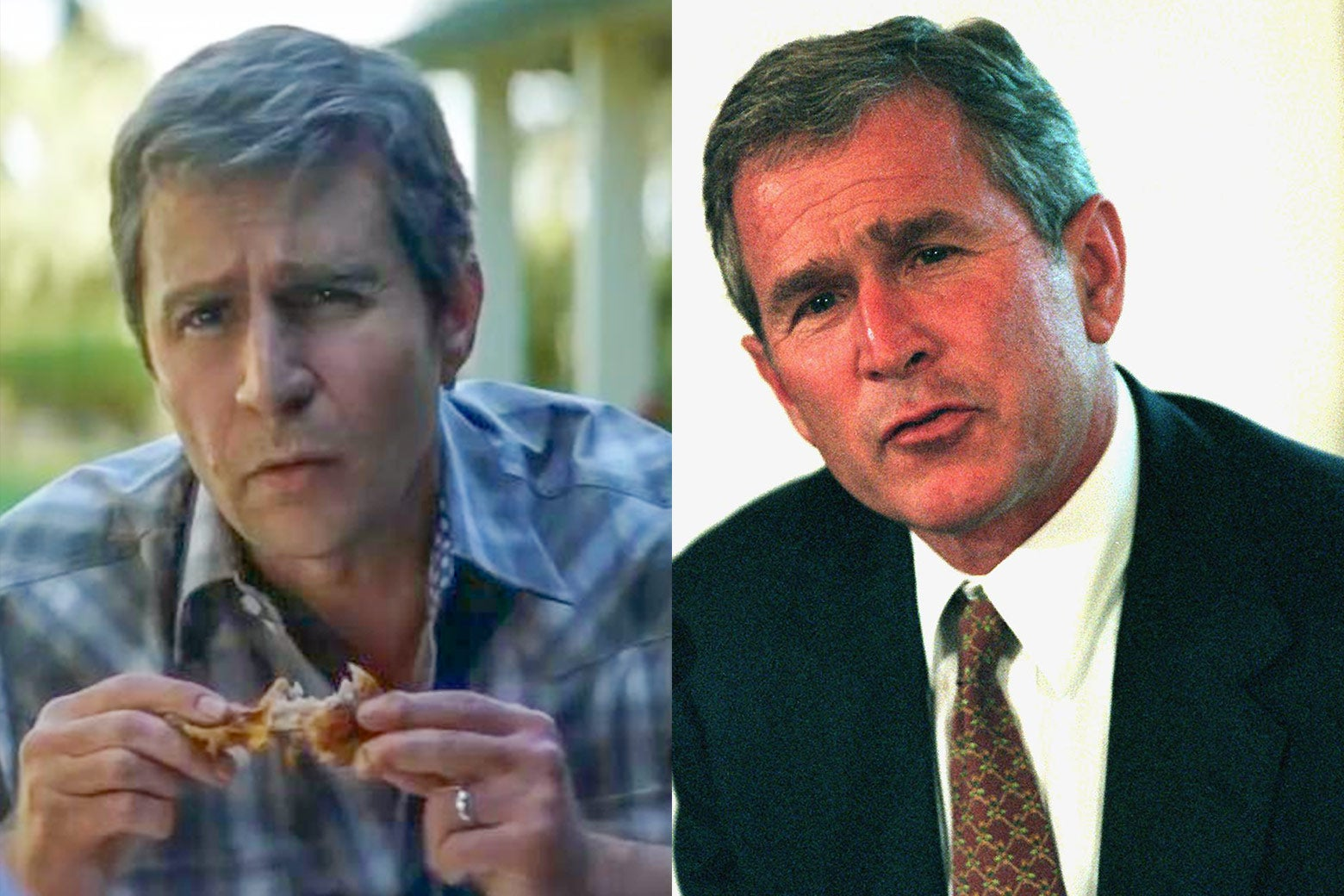 Side-by-side of Sam Rockwell and former U.S. President George W. Bush