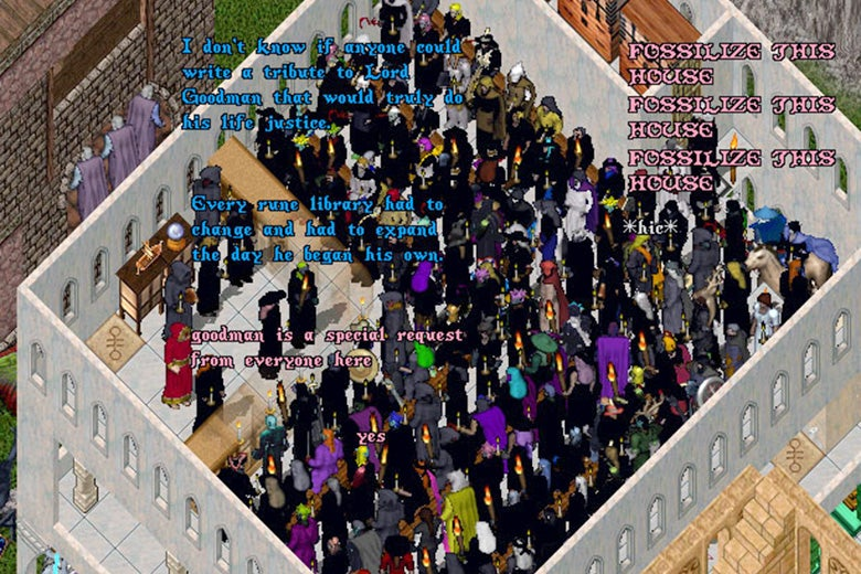 Dozens of player character avatars crowd into the rune library to observe the first Ultima Online funeral for Lord Frank Goodman.