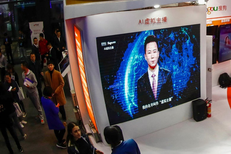 A screen shows an artificial intelligence news anchor introducing himself at the Light of Internet Expo during the 5th World Internet Conference in Wuzhen in China's eastern Zhejiang province.