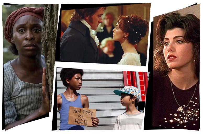 Stills from the movies in a mosaic-style collage showing Cynthia Erivo as Harriet Tubman, Marisa Tomei in My Cousin Vinny, Keira Knightley in Pride & Prejudice, and the young stars of Mister and Pete.