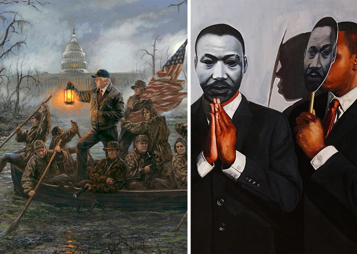 A Jon McNaughton painting depicting Donald Trump crossing a swamp à la George Washington crossing the Delaware, and a Tylonn Sawyer painting depicting black men wearing black-and-white MLK masks.