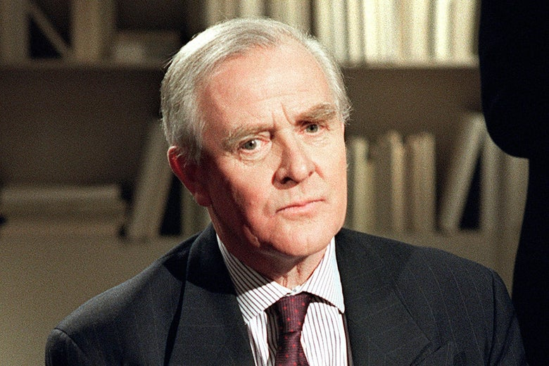 John Le Carré on the set of Apostrophes in 1989.