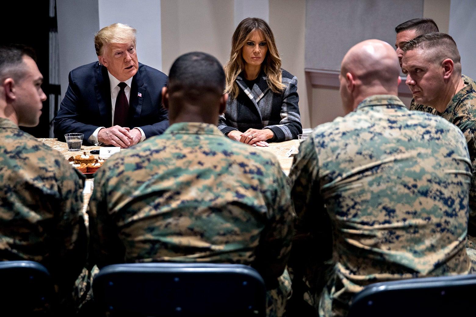 Donald and Melania Trump visit Marines.