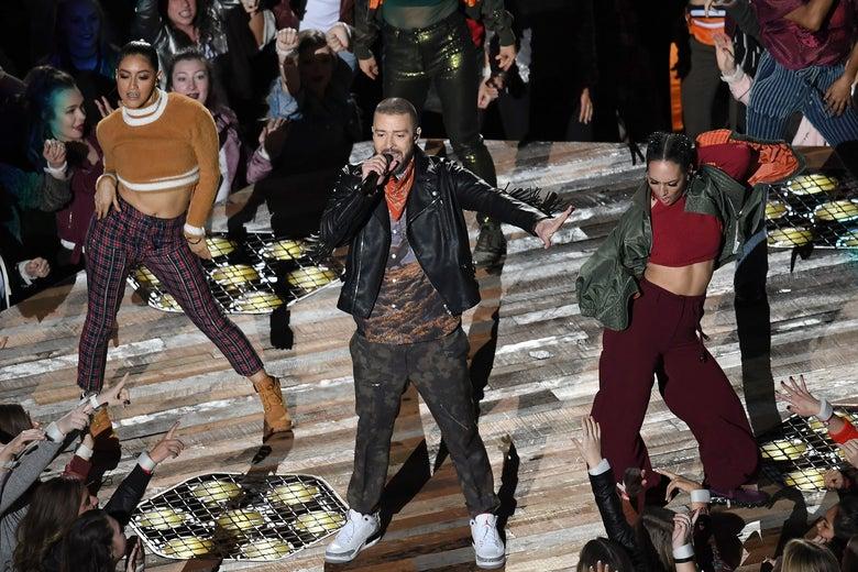 Justin Timberlake performs at Super Bowl LII.